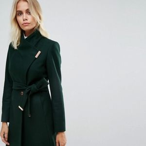 Beautiful Forest Green Ted Baker Long Wrap Coat